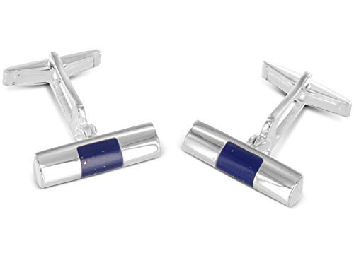 Forme cylindrique BROOKE Cufflinks Lapis Argent