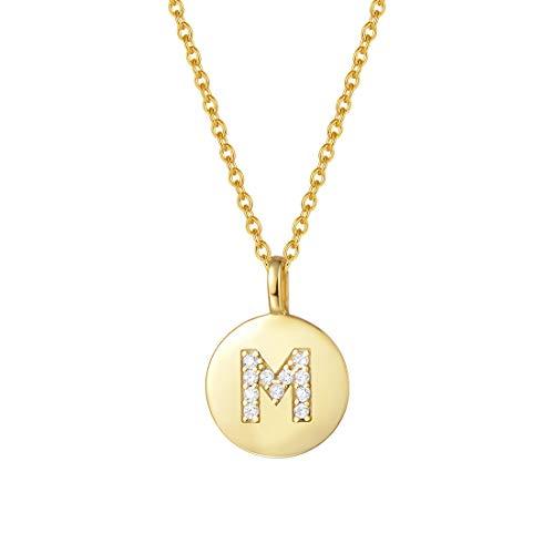 AGVANA Collar con Letra M de Oro Plata de Ley 925 Colgante Pequeño Redondo con Colgante Chapado en Oro Amarillo Collar Inicial para Mujeres Chicas con Caja de Regalo de Joyería Longitud: 40+5 cm