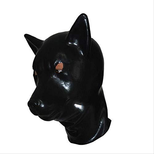 BAJIE Halloween Masker Latex Hood Urlaub Kostüm Maske Vollkopf 3D Wolf Masken Mit Reißverschluss Mit Augen Öffnen Sexy Latex Maske 58Cm Schwarz One Size