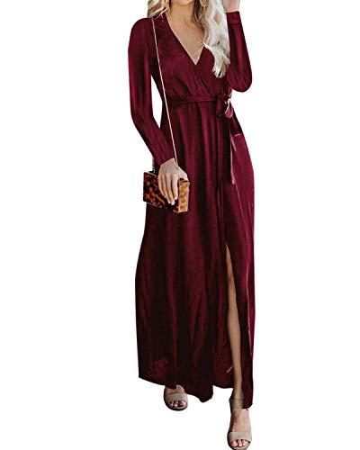 YOINS - Vestido de mujer para playa, vestido de verano, vestido de punto para mujer, vestido largo de noche, vestido de Navidad, cuello redondo con cinturón Vino tinto. XL