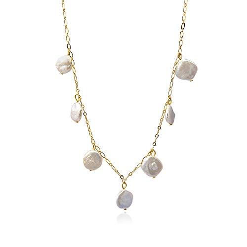 Anartxy Collar de Colección Stone & Shell con Perlas Natulares Para Mujer de Acero Color Dorado, Mejor Regalo