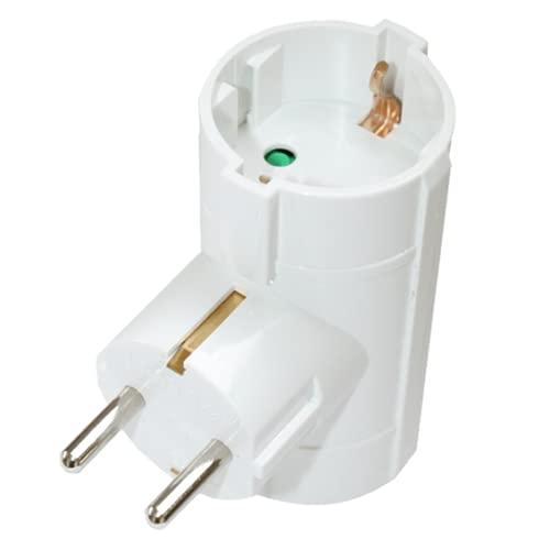 Silver Electronics - Adaptador doble de 2 tomas, enchufe en color blanco, potencia máxima de este ladrón es de 3680W, Corriente Nominal 10/16A, 250 Voltios, Protección Infantil. TUV