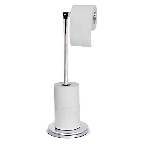 Tatkraft Ingrid Toilettenpapierhalter Ständer, Klopapierhalter Stehend, Rollenhalter WC, Chromstahl, Silber, für Bis Zu 5 Toilettenpapierrollen, 55x19CM