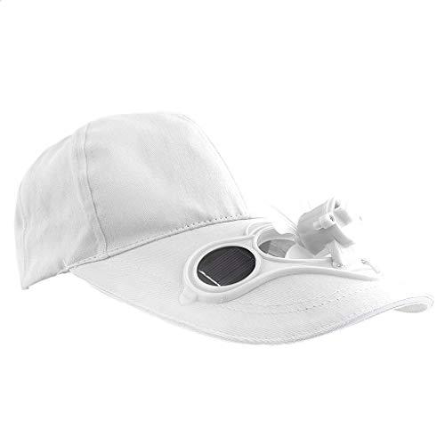 Pingrog Männer Herren Outdoor Sport Fischen Cap Golf Mit Solar Stilvolle Unikat Ventilator Kappe Mit Fter Sonnenhut Schirmmütze (Color : Weiß, Size : One Size)