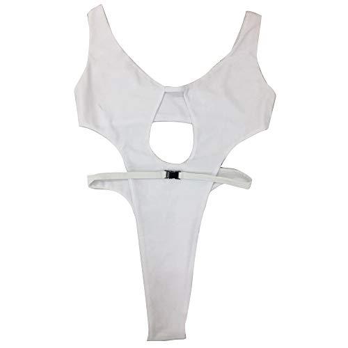 Maillot de Bain 1 Piece Femme Amincissant - Sunenjoy Elégant Monokini Push Up Rembourré Bikini Dos Nu Creux Triangle String Sexy Chic Swimsuit Beachwear Plage Natation (S, Blanc)