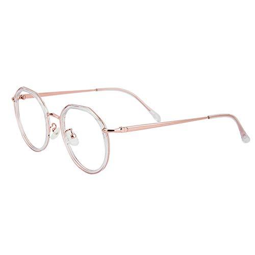 HQMGLASSES Gafas de Lectura HD con Montura Grande Ultraligera y Anti-Azul para Mujer, Lente de Resina 1,56 Lector de hipermetropía Anti-radiación dioptría +0,5 a +3,0,Rosado,+2.5
