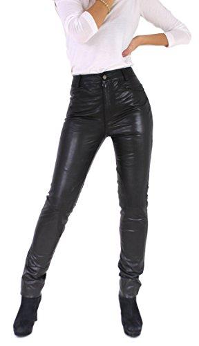 RICANO 9810 II Damen Lederhose, Ziegen Nappa Echtleder, schwarz (Schwarz, XS)