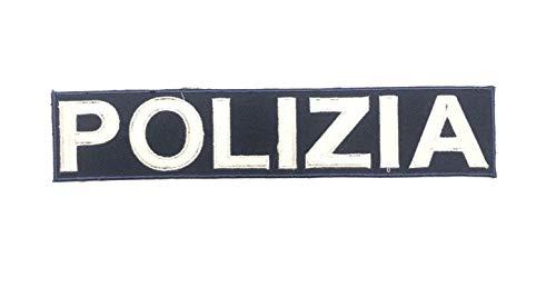 GS1 Patch Toppa Ricamata Termo Adesiva Termoadesiva Polizia cm 25.00x5.00 Art.PS-XXL