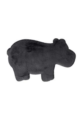 One Couture Alfombra Infantil Hipopótamo Animal Gris Antracita Suave Dormitorio Infantil - 55cm x 90cm