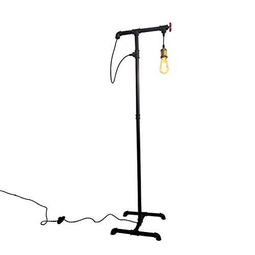 Floor Lamp,Retro Industrial Water Pipe Standing Light,Black E27 140cm Iron Foot Switch Steampunk Floor Light,for Living Room Bedroom Decorlamp