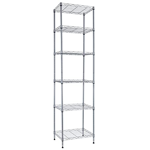 6 Wire Shelving Steel Storage Rack Adjustable Unit Shelves for Laundry Bathroom Kitchen Pantry Closet (Silver, 16.6L x 11.6W x 63H)