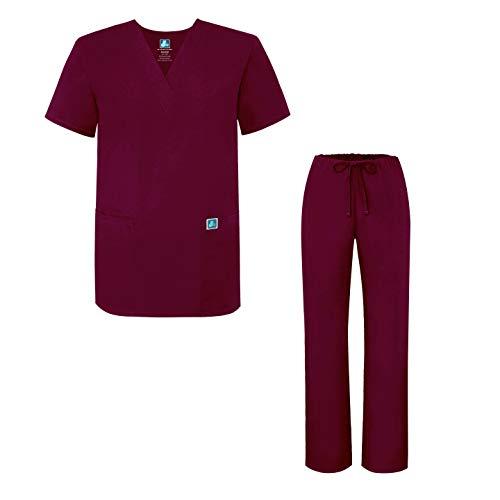 Adar Uniforms Unisex-Schrubb-Set - Medizinische Uniform mit Oberteil und Hose - 701 - Burgundy - L