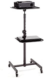 Elitech All Steel Heavy Duty Mobile Projector AV Cart Stand, Top shelf Height and Tilted Angle Adjustable, Middle Shelf Height Adjustable and Swivel.