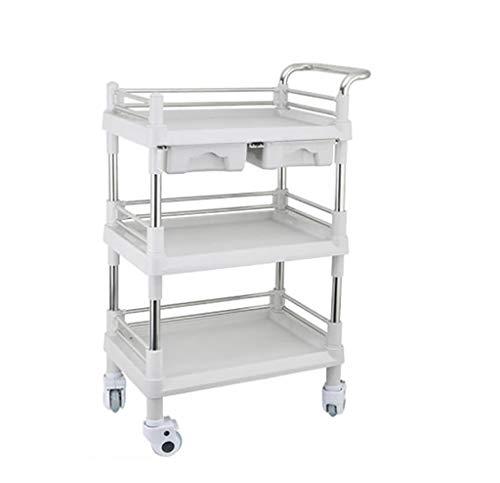I will take action now 3-stufiger medizinischer Trolley-Edelstahl-Behandlungswagen   Medizinische Laborgerätewagen   Schönheitssalon-Werkzeugwagen mit Universalrad Size : L(L76*W53*H98cm)