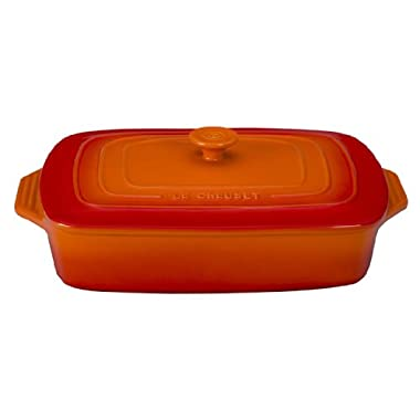Le Creuset Stoneware Covered Rectangular Casserole, 12.5 by 8.5-Inch, Flame