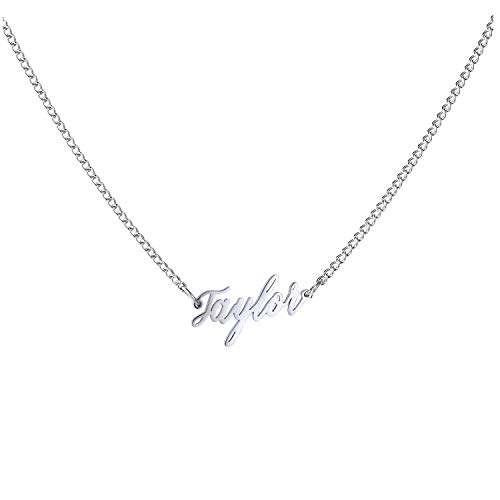 WIGERLON Custom Name Necklace Personalized Pendant 18k White Gold Plated for Women and Girl Taylor