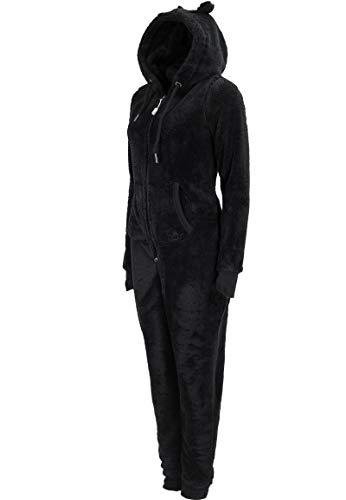 Eight2Nine Damen Jumpsuit aus kuscheligem Teddy Fleece | Overall | Ganzkörperanzug mit Ohren black1 S/M - 7