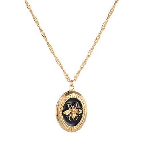 Lindo Collar de Abeja Personalidad Europea y Americana Tendencia aleación Colgante Redondo Collar de Cadena de Oro Collar de joyería