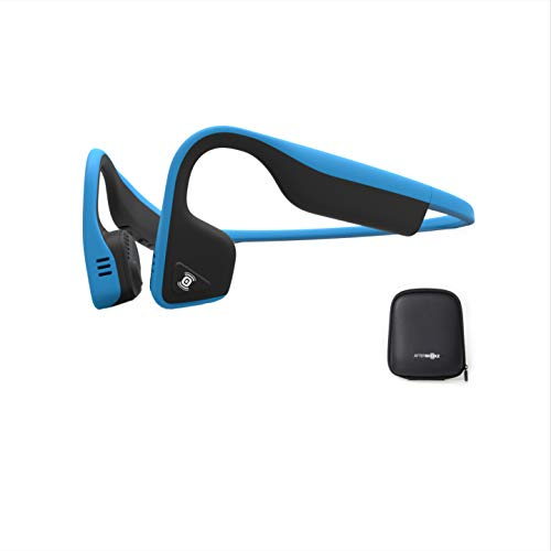 AfterShokz Titaniumオープンイヤーワイヤレス骨伝導ヘッドフォン、ポータブル収納ケース付き、ブルー