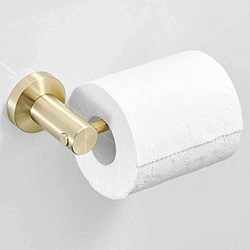 DZNOY Tenedor de Papel higiénico Dorado 304 Tornillos de Rollo de Acero Inoxidable Montaje de Tornillos para baño Casero Redondo Fondo Cepillado Acabado Soporte de Papel higiénico