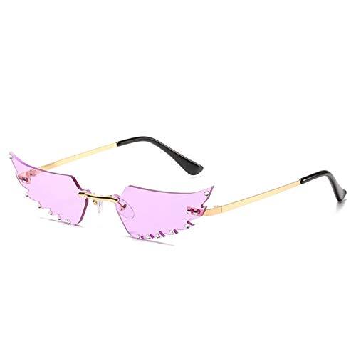 TYOLOMZ Gafas De Sol con Personalidad para Mujer, Sin Montura, con Forma De Pluma, Gafas De Sol para Mujer, Gafas De Calle, Protección UV