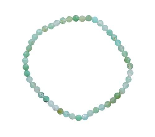 Taddart Minerals Pulsera de piedras preciosas naturales crisopras verdes con cuentas facetadas de 4 mm colocadas en hilo elástico de nailon – Hecho a mano