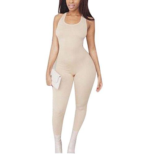 Women's Basic Sleeveless Tank Jumpsuit Bodycon Long Pants (S, Khaki)