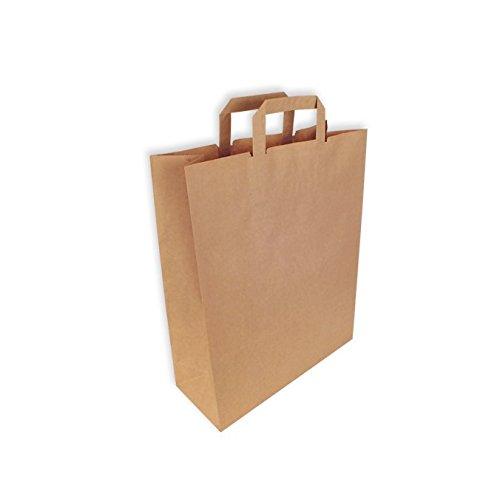 300 Bolsas de Papel Kraft Asa Plana 32 + 13 x 41 cm