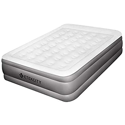 """Etekcity Air Mattress with Built-in Pump, Queen Size Height 16.5"""", Inflatable Airbed Blow Up Air Bed Double Raised Mattress for Camping, Guest, Hiking, Storage Bag, White"""