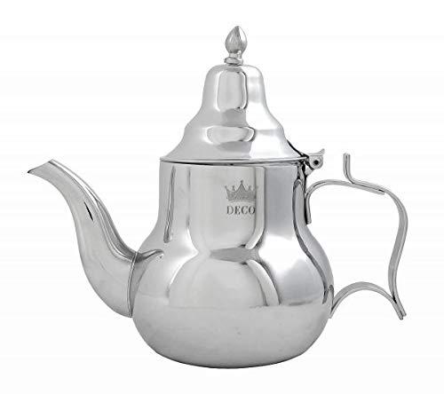 Teiera marocchina Sahara 1,0 l, teiera orientale in ottone 1000 ml, con filtro integrato, modello tradizionale, teiera araba color argento con coperchio