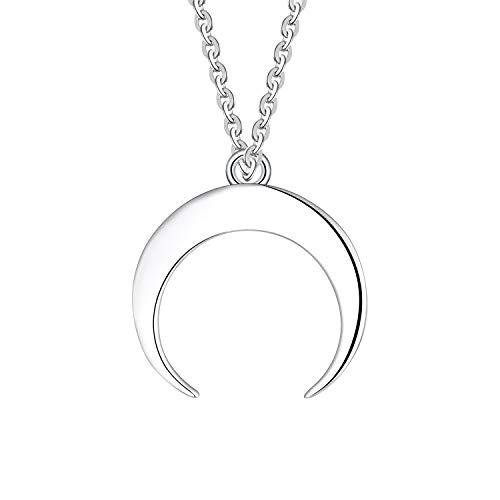 JO WISDOM Collar de Luna Creciente, Plata de ley 925,Colgante Media Luna con baño de oro blanco,...