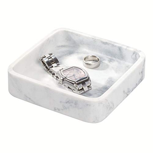 Price comparison product image iDesign Small Tray for Makeup and Jewellery on the Sink,  Makeup Holder Made of Synthetic Resin with Marble Look,  Square Drawer and Dressing Table Organiser,  White