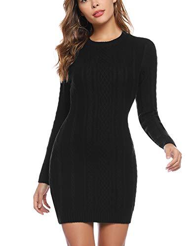 Aibrou Vestido Sueter de Punto Cuello Redondo para Mujer,Elegante Vestido de Suéter Manga Larga Elástico Delgado Clásico,Sexy Jersey Falda de Cadera Negro XL