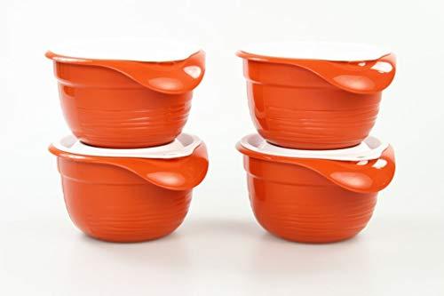 Tupperware 31561 Combiplus Lot de 4 bols mélangeurs avec couvercle, 650 ml, couleur terre cuite