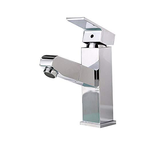 Waschbecken Taps mit Flexible Pull-Down-Sprayer, Kalt- und Warmwasseranschluss Vorhanden für Garderobe Waschraum, Mono Lever aus massivem Messing (Verchromung)