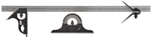 Starrett 434-24-4R Forged, Hardened Square, Center And Reversible Protractor Heads With Blade Combination Set, Smooth Black Enamel Finish, 4R Graduation, 24