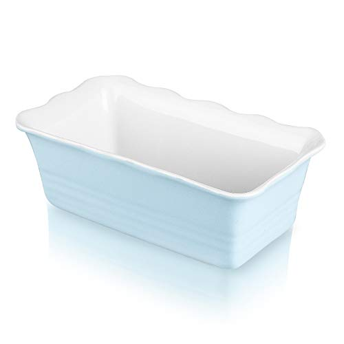 Joyroom Individual Loaf Pan for Baking Bread, Bread Baking Pan, Ceramic Bakeware, Rectangular Bread Loaf Pan, Ceramic Bread Pan, bread pan, Circle Collection (Baby Blue)