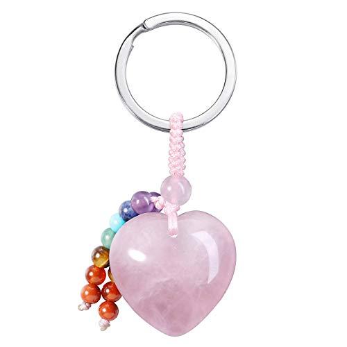 CrystalTears Llavero con piedras preciosas en forma de corazón con 7 chakras, Rosenquarz (Rosa) - FPDE02967(FBA)