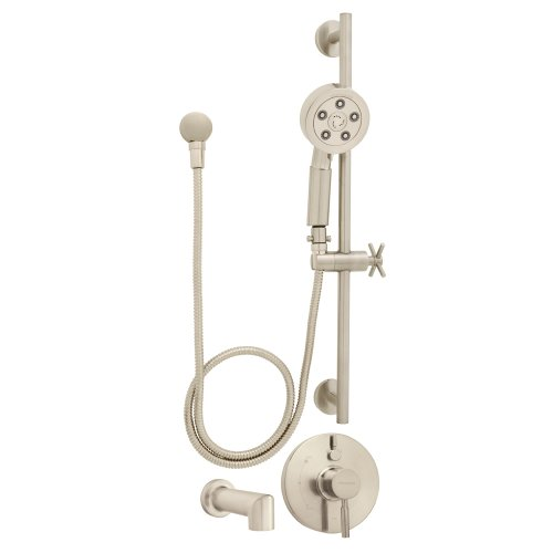 Speakman SM-1450-P-BN Neo Anystream Handheld Shower with Hose, Diverter Shower Valve and Tub Spout Shower Combo, Brushed Nickel