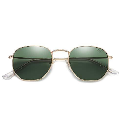 SOJOS Mode Polygon Sonnenbrille Damen Herren Verspiegelte Polarisiert Linse Leichte Unisex Brille SJ1072 (C8 Gold Rahmen/G15 Linse)