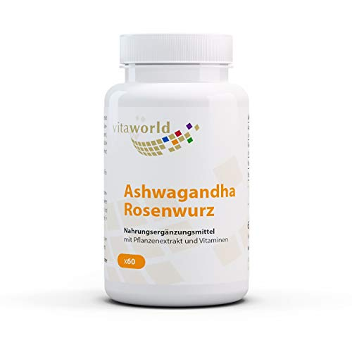 Vita World Ashwagandha Rose Root Complex 60 Capsules Vegan/Vegetarian Made in Germany