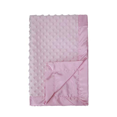 Pro Goleem Baby Soft Minky Dot Blanket with Satin Backing Gift for Girls (Pink, 30'' x 40'')