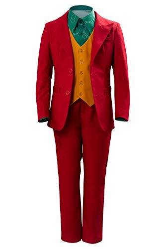 Kids Joaquin Phoenix 2019 Costume Halloween Cosplay Retro Red Suit Long Sleeve Shirts Jacket