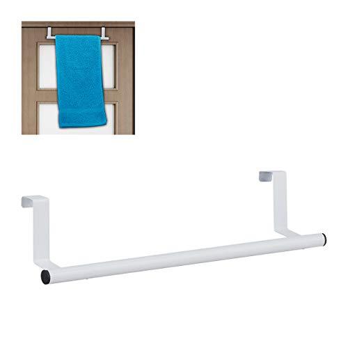 Relaxdays Handtuchhalter für Tür & Schrank, zum Einhängen, Edelstahl, Handtuchstange ohne Bohren, Küche & Bad, weiß