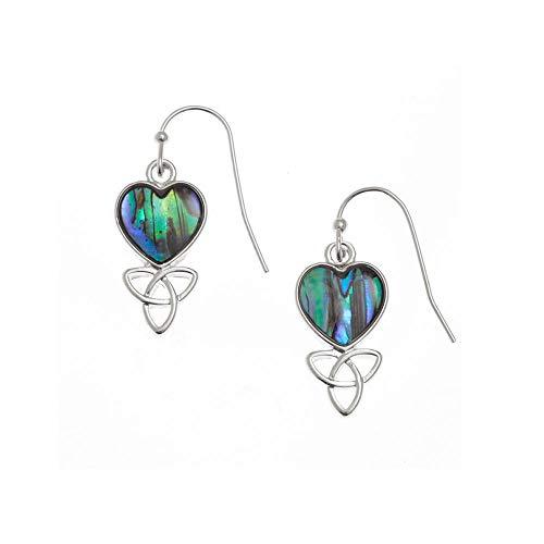 Tide Paua Shell Celtic Heart Earrings