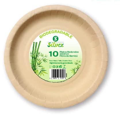 Platos Desechables Ecológicos. (50 uds) Platos Bambu para Fiestas, Vajilla desechable de bambú Biodegradable, Plato de Bambu Desechable - 200mm