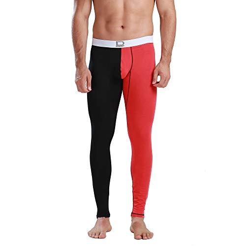DESMIIT Men's Soft Cotton&Modal Long Underwear Color Match Warm Thin Inner Pants Black with red