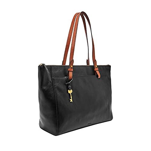 Fossil Women's Rachel Leather Tote Bag Purse Handbag, Black/Brown