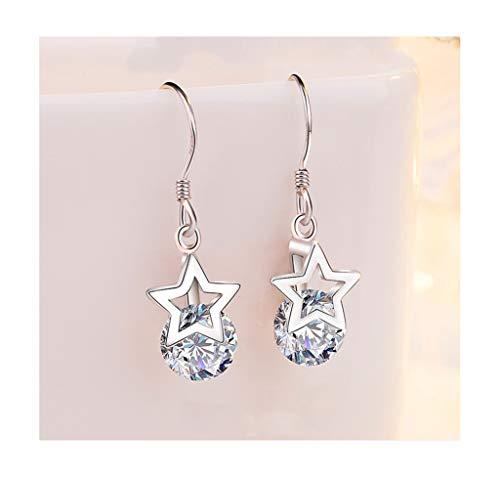 Jambala Pendientes de Estrella de Plata de Cinco Puntas 925, Colgante de Moda de Cinco Puntas de Moda para Damas/niñas