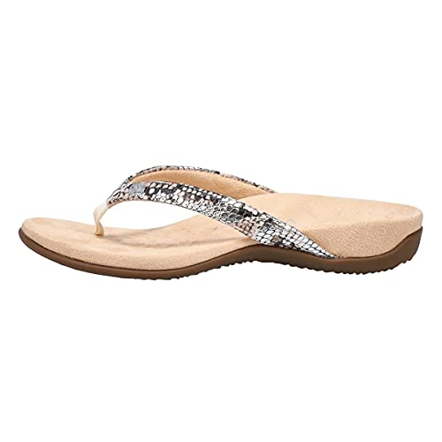 Vionic Women's Rest Dillon Toe Post Sandals- Supportive Ladies Sandals That Include Three-Zone Comfort with Orthotic Insole Arch Support, Sandals for Women, Flop Flops Silver 10 Wide US